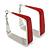 Contemporary Square Red Enamel Hoop Earrings In Rhodium Plating - 50mm Width