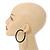 Large Black Enamel Hoop Earrings In Silver Tone - 60mm Diameter - view 2