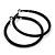 Large Black Enamel Hoop Earrings In Silver Tone - 60mm Diameter - view 3