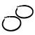 Large Black Enamel Hoop Earrings In Silver Tone - 60mm Diameter - view 7
