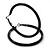 Large Black Enamel Hoop Earrings In Silver Tone - 60mm Diameter - view 5