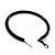 Large Black Enamel Hoop Earrings In Silver Tone - 60mm Diameter - view 6