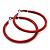 Large Red Enamel Hoop Earrings In Silver Tone - 60mm Diameter - view 3