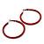 Large Red Enamel Hoop Earrings In Silver Tone - 60mm Diameter - view 7