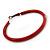 Large Red Enamel Hoop Earrings In Silver Tone - 60mm Diameter - view 5