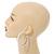 Large White Enamel Hoop Earrings In Silver Tone - 60mm Diameter - view 3