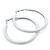 Large White Enamel Hoop Earrings In Silver Tone - 60mm Diameter - view 8