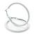 Large White Enamel Hoop Earrings In Silver Tone - 60mm Diameter - view 9