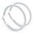 Large White Enamel Hoop Earrings In Silver Tone - 60mm Diameter - view 7