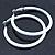 Large White Enamel Hoop Earrings In Silver Tone - 60mm Diameter - view 2