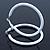 Large White Enamel Hoop Earrings In Silver Tone - 60mm Diameter - view 4