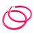 Large Neon Pink Enamel Hoop Earrings In Silver Tone - 60mm Diameter - view 2