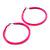 Large Neon Pink Enamel Hoop Earrings In Silver Tone - 60mm Diameter - view 6