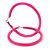 Large Neon Pink Enamel Hoop Earrings In Silver Tone - 60mm Diameter - view 5