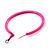 Large Neon Pink Enamel Hoop Earrings In Silver Tone - 60mm Diameter - view 4