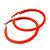 Large Neon Orange Enamel Hoop Earrings In Silver Tone - 60mm Diameter - view 2