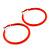 Large Neon Orange Enamel Hoop Earrings In Silver Tone - 60mm Diameter - view 6