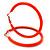 Large Neon Orange Enamel Hoop Earrings In Silver Tone - 60mm Diameter - view 4