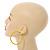 Large Yellow Enamel Hoop Earrings In Silver Tone - 60mm Diameter - view 2