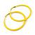 Large Yellow Enamel Hoop Earrings In Silver Tone - 60mm Diameter - view 5