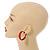 Wide Medium Red Enamel Hoop Earrings - 40mm Diameter - view 2