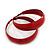 Wide Medium Red Enamel Hoop Earrings - 40mm Diameter - view 4