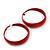 Wide Medium Red Enamel Hoop Earrings - 40mm Diameter - view 5