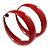 Wide Medium Red Enamel Hoop Earrings - 40mm Diameter - view 3