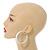 Wide Large White Enamel Hoop Earrings - 55mm Diameter - view 3