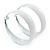 Wide Large White Enamel Hoop Earrings - 55mm Diameter - view 8