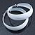 Wide Large White Enamel Hoop Earrings - 55mm Diameter - view 7