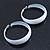 Wide Large White Enamel Hoop Earrings - 55mm Diameter - view 11