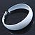 Wide Large White Enamel Hoop Earrings - 55mm Diameter - view 10