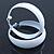 Wide Large White Enamel Hoop Earrings - 55mm Diameter - view 5