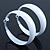 Wide Large White Enamel Hoop Earrings - 55mm Diameter - view 2
