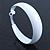 Wide Large White Enamel Hoop Earrings - 55mm Diameter - view 6