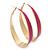 Gold Plated Fuchsia Enamel Oval Hoop Earrings - 6cm Length