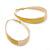 Gold Plated Yellow Enamel Oval Hoop Earrings - 6cm Length - view 3