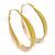 Gold Plated Yellow Enamel Oval Hoop Earrings - 6cm Length - view 7