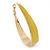 Gold Plated Yellow Enamel Oval Hoop Earrings - 6cm Length - view 4