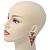 Multicoloured Enamel Geometric Egyptian Style Drop Earrings In Gold Plating - 55mm Length - view 3