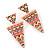 Multicoloured Enamel Geometric Egyptian Style Drop Earrings In Gold Plating - 55mm Length - view 8