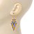 Yellow, Light Blue Enamel Crystal Triangular Drop Earrings In Gold Plating - 60mm Length - view 3