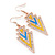 Yellow, Light Blue Enamel Crystal Triangular Drop Earrings In Gold Plating - 60mm Length - view 6