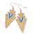 Yellow, Light Blue Enamel Crystal Triangular Drop Earrings In Gold Plating - 60mm Length - view 2