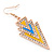 Yellow, Light Blue Enamel Crystal Triangular Drop Earrings In Gold Plating - 60mm Length - view 5