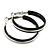 Medium Black Enamel Hoop Earrings In Silver Tone - 40mm Diameter - view 5