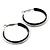 Medium Black Enamel Hoop Earrings In Silver Tone - 40mm Diameter - view 6