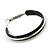 Medium Black Enamel Hoop Earrings In Silver Tone - 40mm Diameter - view 3