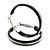 Medium Black Enamel Hoop Earrings In Silver Tone - 40mm Diameter - view 2